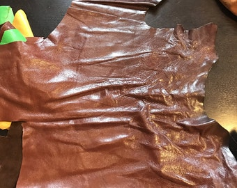 LIMITED OFFERING: Brown Glazed Italian Cow Leather. Perfect for Handbags, Shoes, Garments, Accessories, Leather Crafts