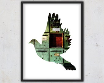 Flying Dove Art Print, Photography Bird Silhouette Dove, Wall Art, Instant Download Photo Print, Art Print, Animal Print, Woodland Art