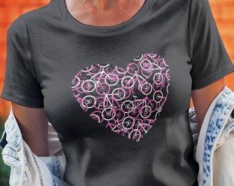 The Bike Heart Bicycle Tee Shirt w/Pink Bikes