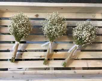 Bridal Bouquet Dried Gypsophila Baby's Breath Rustic Wedding Bride Bridesmaids Flowergirl