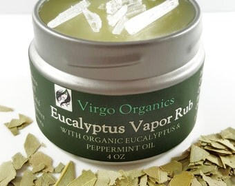 Organic Vapor Rub / Great for Soothing Cold or Sinus Symptoms & Relieves Muscle Pain / OPENS Nasal Passages Like a Charm / ORGANIC and PURE!