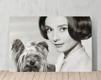 Audrey Hepburn with her Dog Canvas Print Home Decor / Iconic Wall Art/ Gallery Wrapped with Wood Stretcher Bar/ Ready to Hang