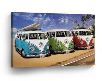 Volkswagen Vans Digital Painting Canvas Print Home Decor / Camper / Old Vintage Bus / Wall Art Gallery Wrapped Canvas Art /Ready to Hang