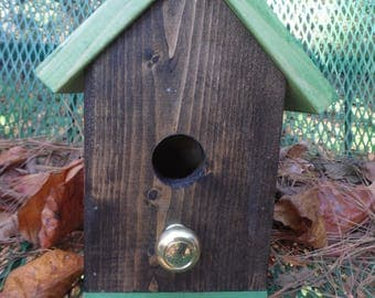 Birdhouse Brown with Brass Perch