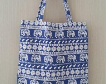 SUMMER SALE/ Elephant/blue/Organizational pockets/ Shoulder bag / Tote bag/ Laptop Bag