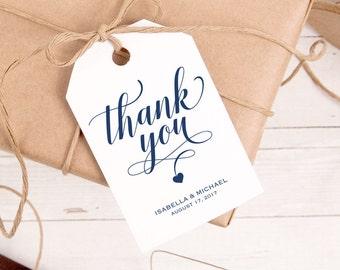 Navy Blue Thank You Tag, Gift Tags, Wedding Thank You Tags, Wedding Favor, Thank You Printable, Favor Tag, DiY Kraft Printable tags, WPC_182