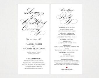 Rustic Wedding Program Template, Wedding Ceremony Program, Printable Programs, Kraft Wedding Program, fan, PDF Instant Download, WPC_254SD4A
