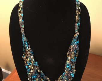 Trellis Ribbon croc. necklace/scarf/teal