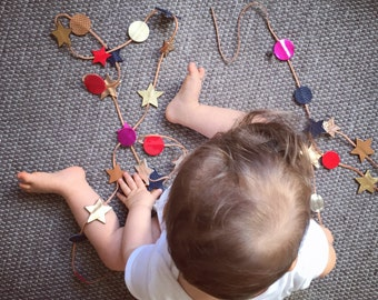 Leather Garland - Stars & Circles - Random Colors - Swag - From 1 meter to Infinity - Kids Christmas Wedding Decor - Handmade in Argentina