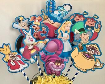 Alice in Wonderland Set of 10 Centerpiece Picks (DOUBLE-SIDED)