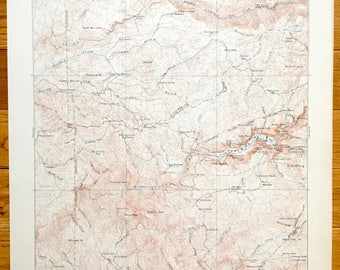 Antique Yosemite Valley and Hetch Hetchy Valley, Yosemite National Park, California 1903 US Geological Survey Topographic Map
