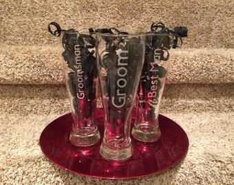 Wedding Pilsner Beer Glasses Groom - Groomsman - Best Man Gifts