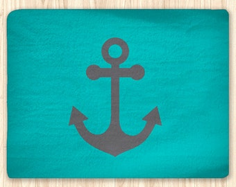 Teal And Grey Anchor Area Rug Personalized, Nautical Rug, Custom Area Rug,  Fuzzy