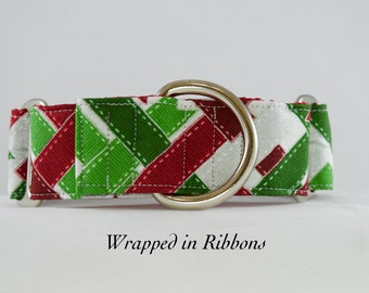 Red and Green Martingale or Buckle Dog Collar. Christmas/ holiday dog collar. Bright and Cheerful. Silver Metallics