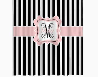 black and white stripes shower curtain shower curtain with blush pink accent shower