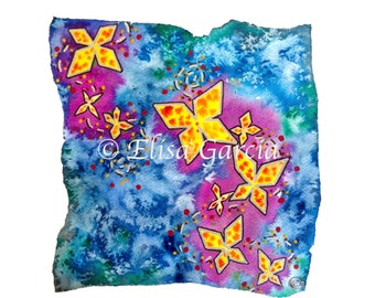 """Butterfly Watercolor Painting Print, Mariposas 12 x 12"""""""