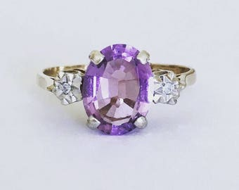 Vintage 9ct Gold Amethyst & Diamond Ring