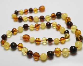 """BALTIC AMBER Baroque Beads Multi-Color Round Beads Necklace 11.6 Grams 19"""""""