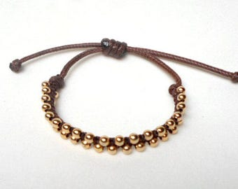 Marianella bracelet, hand knitted, brown and gold