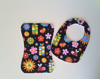 Bib and burp cloth set, 100% cotton top with mircofibre sports towelling, ultra absorbent