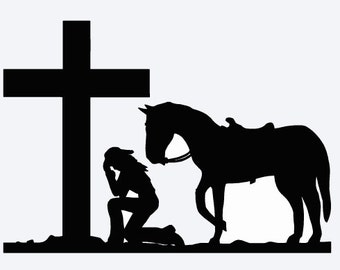 Praying Cowgirl With Horse Decal
