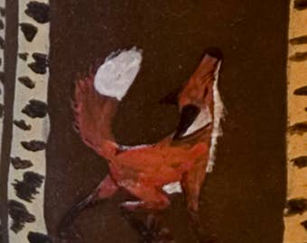 Coffee Cup / 'Young Fox in the birch forest' / handpainted / item at pottery feels