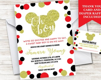 Mickey Mouse Inspired Boy BABY SHOWER Invitation Invite Personalized Digital 5x7 Sprinkle GOLD Glitter Red Black