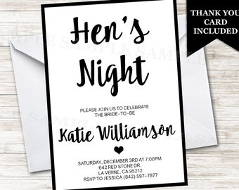 Hen's Night Invitation Invite Party Bridal Girls Night Digital Personalized Digital 5x7 Simple Black White