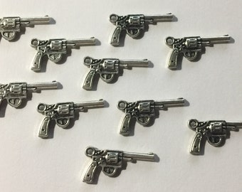 Silver Six Shooter Charms