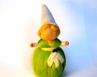 easter gnome doll, flower fairy doll, waldorf flower doll, felted flower pixie, steiner gnome doll, easter pixies elves, wool doll for kids