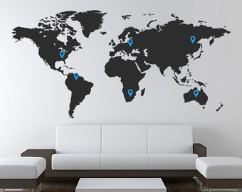 World Map Vinyl Wall Decal / Sticker with Location Pins Office Globe