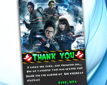 Ghostbusters Thank you card, Ghostbusters Birthday, Ghostbusters party, Ghostbusters invitation
