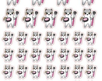 Mauly loves Makeup - Hand Drawn IttyBitty Kitty Collection - Planner Stickers