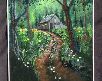 Original Hand Painted Acrylic Painting Out Door Scenery Landscape Forest Shack