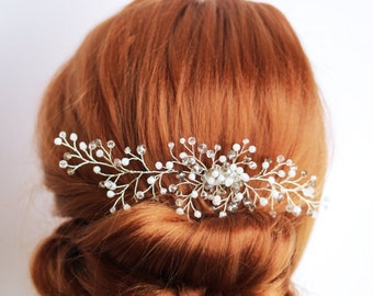 Crystal hair comb, glass beads hair comb, bridal hair comb, wedding hair comb, bridal headpiece, wedding hair piece, bridal comb,