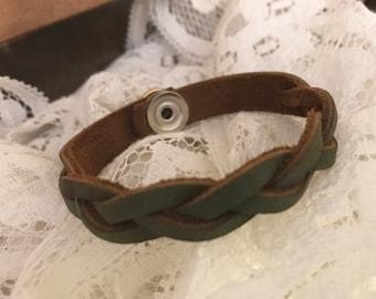Upcycled Braided Green  Leather Bracelet