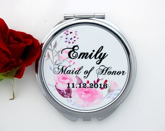 Maid of Honor Compact Mirror -Gift For Her - Wedding -Bridal Gifts-Ideas For Maid of Honor-Date Bridal Party Gift-Gift Ideas For Bridesmaids