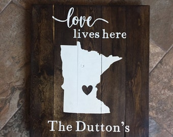 Love Lives Here Family Name Wooden Sign