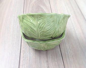 Vintage cabbage bowls, set of 2