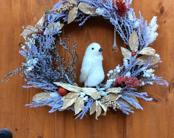 White Penguin Seasonal Wreath, Winter, Wildlife,  Christmas, Grapevine Wreath, Artificial Silk Flower Front Door/Wall Decor, Made In Canada