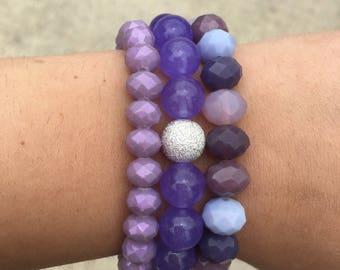 Purple bracelet stack