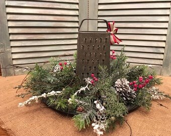 Christmas Centerpiece with Antique Grater on a Silver and Black Charger Plate Farmhouse Arrangement Rustic Tablescascape