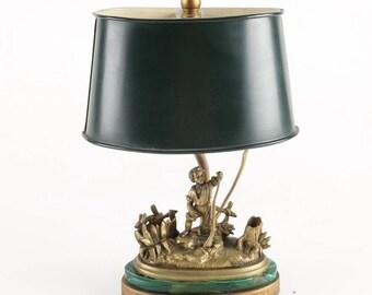 Bronze Sculptural Lamp With Malachite Base