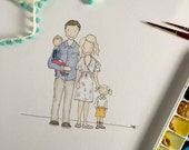 Custom Watercolor Portrait, Family Portrait, Custom Art, Watercolor portrait, Family Memories Portrait, Mother's Day Gift, Family Painting,