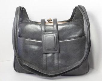 Vintage Italian Lou Taylor Grey Purse, Circa 1950's, Retro Shoulder Bag, Double Kiss Lock, Metal Frame, Swivel Mirror