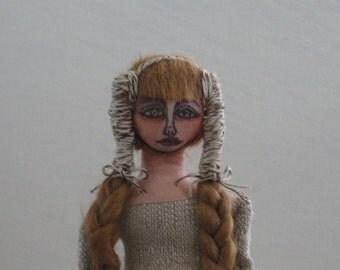 Cloth Art Doll, Sitter Doll, One of a Kind, Handmade Sewn Doll, Shabby Chic, Folk Art, Primitive Doll