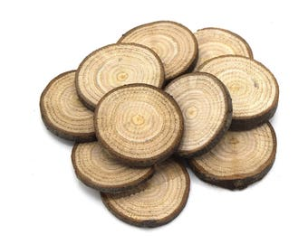 x 10 wood slices of cherry wood o30 decor ~ 35mm - organic untreated, no varnish