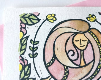 Carte de voeux anniversaire merci femme fille cadeau pour les amies ou collègue journée des femmes carte linogravure original