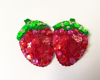 Strawberry Burlesque Pasties, Rhinestones, Sequins, Boudoir, Pinup