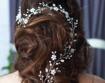 Long hair vine Flowers long hair vine Pearl bridal headpiece Crystal hair vine Bridal hair vine Hairpiece Wedding hair vine Floral headpiece